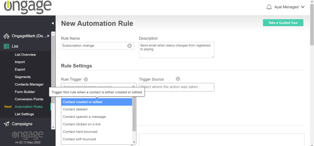 Define triggers that will activate automated email journeys