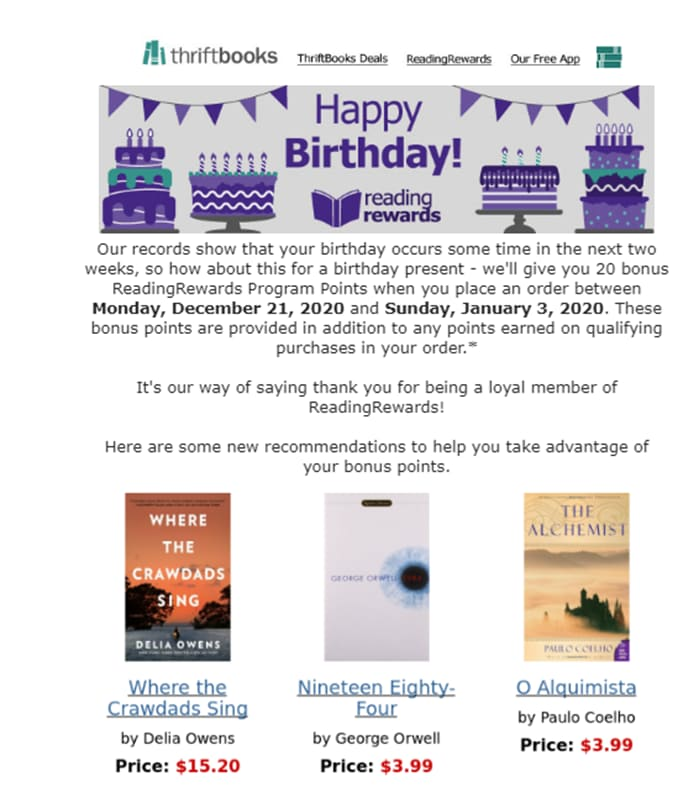 Birthdays are a great opportunity for a personalized email