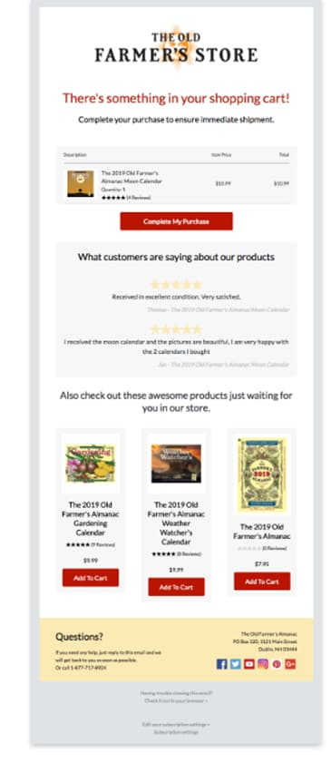 Cart abandonment emails must contain personalization elements