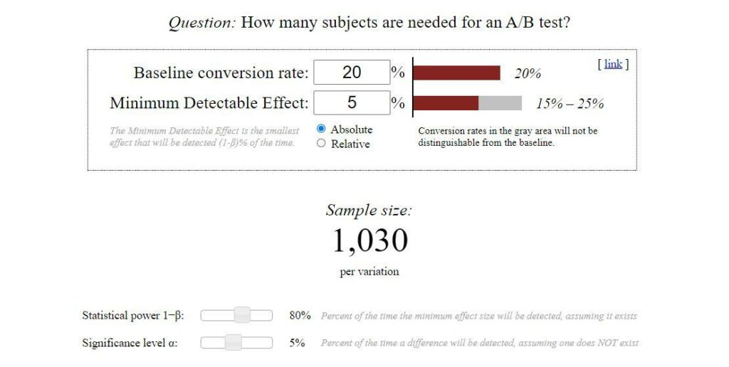 Determine your sample size for your A/B test with a calculator